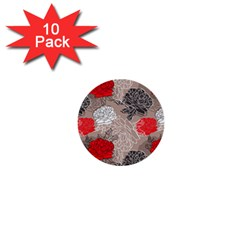 Flower Rose Red Black White 1  Mini Buttons (10 Pack)  by Mariart