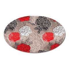 Flower Rose Red Black White Oval Magnet by Mariart