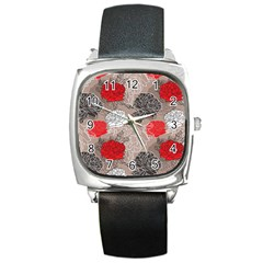Flower Rose Red Black White Square Metal Watch by Mariart