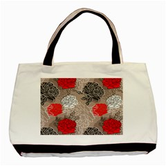 Flower Rose Red Black White Basic Tote Bag (two Sides) by Mariart