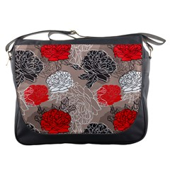 Flower Rose Red Black White Messenger Bags by Mariart