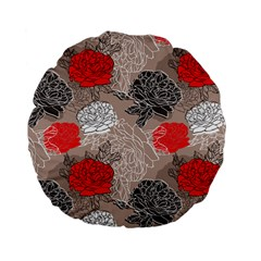 Flower Rose Red Black White Standard 15  Premium Flano Round Cushions by Mariart