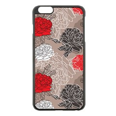 Flower Rose Red Black White Apple Iphone 6 Plus/6s Plus Black Enamel Case by Mariart