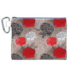 Flower Rose Red Black White Canvas Cosmetic Bag (xl) by Mariart