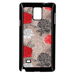 Flower Rose Red Black White Samsung Galaxy Note 4 Case (black) by Mariart