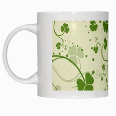 Flower Green Shamrock White Mugs by Mariart