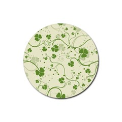 Flower Green Shamrock Rubber Round Coaster (4 Pack)  by Mariart