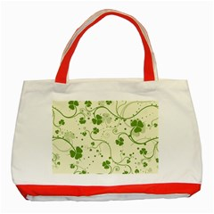 Flower Green Shamrock Classic Tote Bag (red) by Mariart