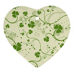 Flower Green Shamrock Heart Ornament (two Sides) by Mariart