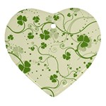 Flower Green Shamrock Heart Ornament (Two Sides) Front