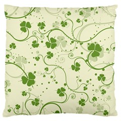 Flower Green Shamrock Large Flano Cushion Case (two Sides) by Mariart