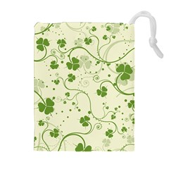 Flower Green Shamrock Drawstring Pouches (extra Large) by Mariart