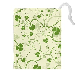 Flower Green Shamrock Drawstring Pouches (xxl)