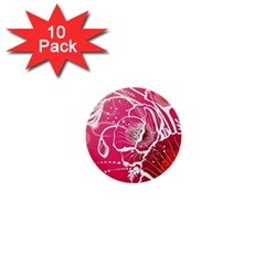 Flower Red Sakura Pink 1  Mini Buttons (10 Pack)  by Mariart