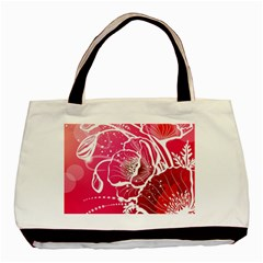 Flower Red Sakura Pink Basic Tote Bag by Mariart