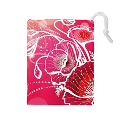 Flower Red Sakura Pink Drawstring Pouches (large)  by Mariart