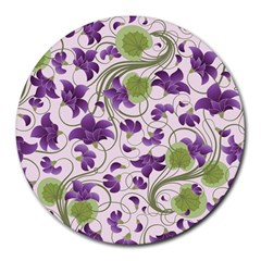 Flower Sakura Star Purple Green Leaf Round Mousepads