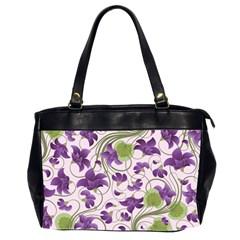 Flower Sakura Star Purple Green Leaf Office Handbags (2 Sides)  by Mariart