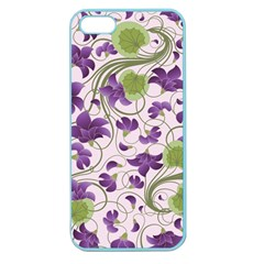 Flower Sakura Star Purple Green Leaf Apple Seamless Iphone 5 Case (color) by Mariart