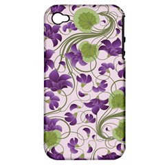 Flower Sakura Star Purple Green Leaf Apple Iphone 4/4s Hardshell Case (pc+silicone) by Mariart