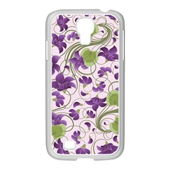 Flower Sakura Star Purple Green Leaf Samsung Galaxy S4 I9500/ I9505 Case (white) by Mariart