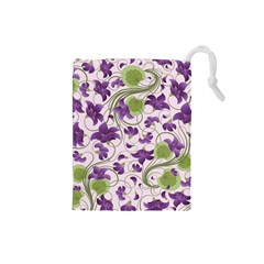 Flower Sakura Star Purple Green Leaf Drawstring Pouches (small)  by Mariart