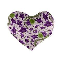 Flower Sakura Star Purple Green Leaf Standard 16  Premium Flano Heart Shape Cushions by Mariart