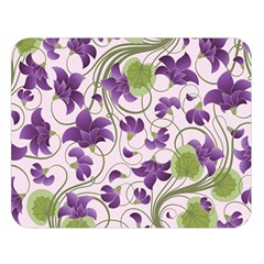 Flower Sakura Star Purple Green Leaf Double Sided Flano Blanket (large)  by Mariart