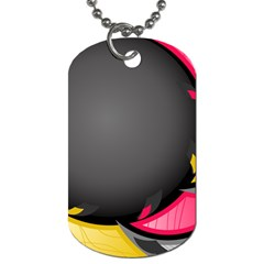 Hole Circle Line Red Yellow Black Gray Dog Tag (one Side) by Mariart