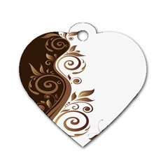 Leaf Brown Butterfly Dog Tag Heart (one Side) by Mariart