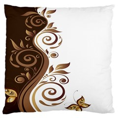 Leaf Brown Butterfly Large Cushion Case (two Sides) by Mariart