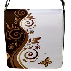 Leaf Brown Butterfly Flap Messenger Bag (s) by Mariart