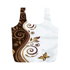 Leaf Brown Butterfly Full Print Recycle Bags (m)  by Mariart
