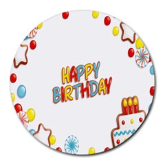 Happy Birthday Round Mousepads by Mariart