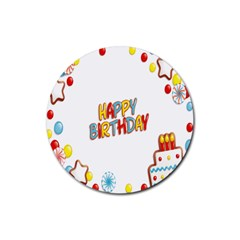 Happy Birthday Rubber Coaster (round)  by Mariart