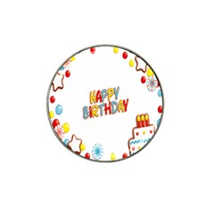 Happy Birthday Hat Clip Ball Marker (4 Pack) by Mariart