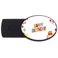 Happy Birthday Usb Flash Drive Oval (4 Gb) by Mariart