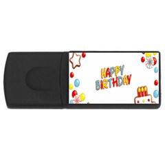 Happy Birthday Usb Flash Drive Rectangular (4 Gb) by Mariart