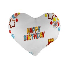 Happy Birthday Standard 16  Premium Flano Heart Shape Cushions by Mariart