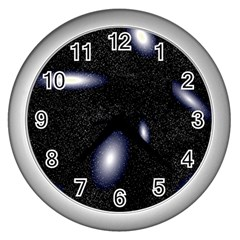 Galaxy Planet Space Star Light Polka Night Wall Clocks (silver)  by Mariart