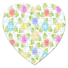 Fruit Grapes Purple Yellow Blue Pink Rainbow Leaf Green Jigsaw Puzzle (heart) by Mariart