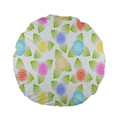Fruit Grapes Purple Yellow Blue Pink Rainbow Leaf Green Standard 15  Premium Round Cushions by Mariart