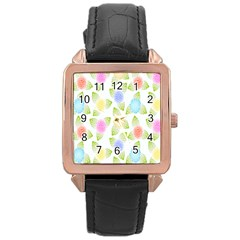 Fruit Grapes Purple Yellow Blue Pink Rainbow Leaf Green Rose Gold Leather Watch  by Mariart