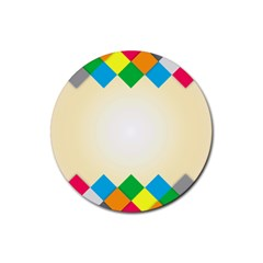 Plaid Wave Chevron Rainbow Color Rubber Coaster (round)  by Mariart