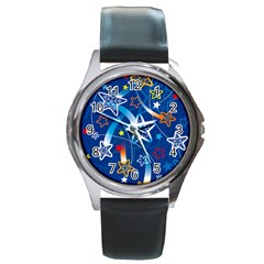 Line Star Space Blue Sky Light Rainbow Red Orange White Yellow Round Metal Watch by Mariart