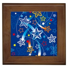 Line Star Space Blue Sky Light Rainbow Red Orange White Yellow Framed Tiles by Mariart