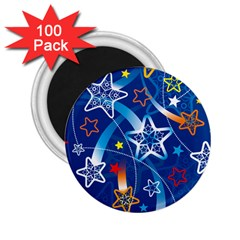 Line Star Space Blue Sky Light Rainbow Red Orange White Yellow 2 25  Magnets (100 Pack)  by Mariart