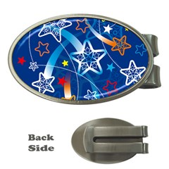 Line Star Space Blue Sky Light Rainbow Red Orange White Yellow Money Clips (oval)  by Mariart
