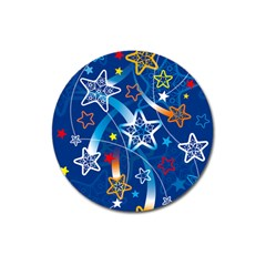 Line Star Space Blue Sky Light Rainbow Red Orange White Yellow Magnet 3  (round) by Mariart