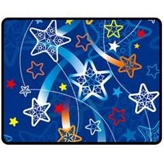 Line Star Space Blue Sky Light Rainbow Red Orange White Yellow Fleece Blanket (medium)  by Mariart